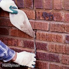 How to Repair Mortar Joints Learn the tools and techniques used for tuckpointing old masonry walls and chimneys. Discover how to restore cracked and worn mortar joints, how to cut out old mortar and how to pack new mortar in neatly and cleanly. Mortar Repair, Brick Repair, Asphalt Repair, Brick And Mortar, Brick And Stone, House Bugs, Concrete Bricks, Concrete Building, Building A Brick Wall