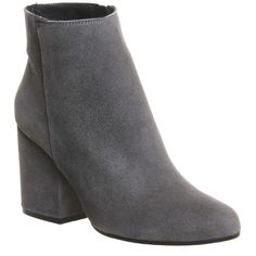 Office Ink Block Heel Boots (8.765 RUB) ❤ liked on Polyvore featuring shoes, boots, ankle booties, ankle boots, grey suede, women, wide ankle boots, grey booties, high heel booties and suede booties
