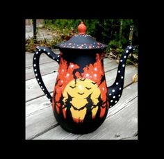 LISTO Another HP witches tea pot treasure from Peggy! painted on both sides Halloween Painting, Holidays Halloween, Vintage Halloween, Halloween Crafts, Halloween Decorations, Halloween Baskets, Halloween Tombstones, Halloween Stuff, Holiday Crafts