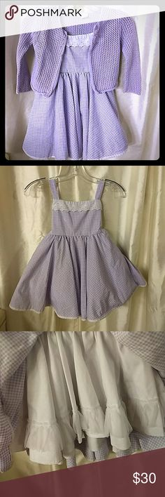 Sweet purple baby girl Wear once no flaws no pulled net sweater no stain no discoloration  size is 4T UR IT  60% ramie 40% cotton Wear once no flaws lace across top tank top dress. Three buttons on back with tie back skirt like under this beautiful. 4Y Lid'l Dolly's Dresses Casual