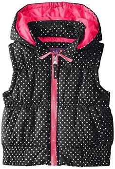 Pink Platinum Girls' Puffer Vest In Foil Dot *** You can get additional details at