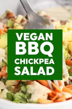 This delicious vegan BBQ chickpea salad is full of BBQ favorites like avocado, red onion, carrot, corn and ranch sauce. It's a super quick and easy recipe too making it just perfect for healthy weeknight meals. # Food and Drink salad BBQ Chickpea Salad Soup Appetizers, Appetizer Recipes, Dinner Recipes, Vegan Diner, Real Food Recipes, Vegetarian Recipes, Vegan Meals, Yummy Vegan Recipes, Easy Recipes
