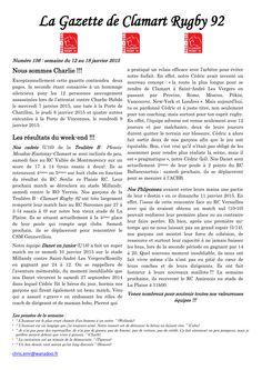 Gazette - 2014-2015 - Fédérale 2 - N° 156 - Page 1