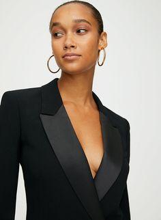 Blazer Dress - Black tuxedo blazer dress - New&AtlantikIdeas Tuxedo Wedding, Wedding Tuxedos, Tuxedo Dress, Black Tuxedo, Double Breasted Blazer, Japanese Fabric, Blazer Dress, Dress For Success, Office Outfits