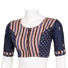 Tvaksati Handcrafted Printed Cotton Blouse With Regular Sleeve 10006530 - AVISHYA.COM Blouse Back Neck Designs, Blouse Designs Silk, Saree Blouse Patterns, Choli Designs, Kalamkari Kurti, Fashion Blouses, Blouse Models, Beautiful Blouses, Blouse Online