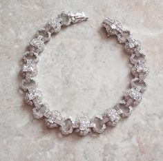 Cubic Zirconia Bracelet - Gorgeous crystal CZs set in sterling silver and finished with a box clasp and figure 8 safety in very good vintage condition. This bracelet has open and solid links; Vintage Earrings, Vintage Jewelry, Unique Jewelry, Amethyst Earrings, Turquoise Earrings, Sterling Silver Bracelets, Beautiful Necklaces, Crystals, Colors