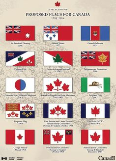 This picture represents a small collection of some of the flag nominees, some of which were actually used in Canada for a while before we got the official flag in the bottom right corner! Canadian Things, I Am Canadian, Canadian Flags, Canadian Culture, Canadian History, Canadian Humour, Vancouver, Canadian Identity, Canada 150