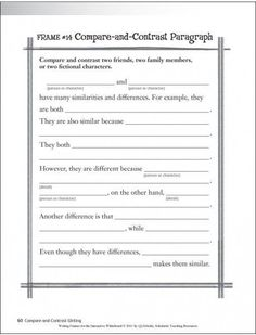 I would use this to teach ESOL students how to write a compare and contrast essay. Keeping Britton's Continuum for writing in mind I would have students compare and contrast themselves with a close friend or family member. Essay Prompts, Essay Topics, Writing Prompts, Essay Template, Writing Template, 3rd Grade Writing, Sentence Starters, Essay Writer, Informational Writing
