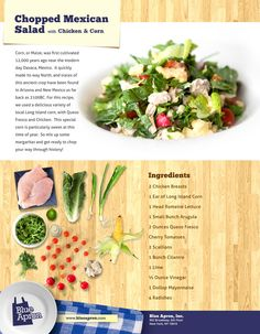 Mexican-Style Chopped Salad with Chicken & Corn Mexican Salads, Chopped Salad, Some Recipe, Chicken Salad, Diabetic Recipes, Food Inspiration, Chicken Recipes, Healthy Eating, Favorite Recipes