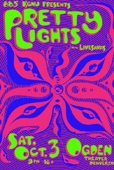 Concert poster for Pretty Lights at The Ogden Theatre in Denver, Colorado in 2009. Artwork by Javier Gonzalez. 11x17 card stock.