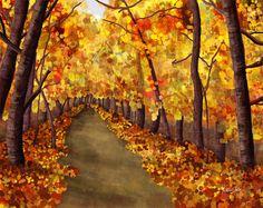 Autumn Afternoon  8 x 10 Digital Painting by vbdigitalpaintings, $25.00