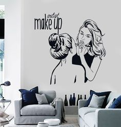 Vinyl Wall Decal Make Up Artist Cosmetic Beauty Salon Stickers Mural (ig4535)