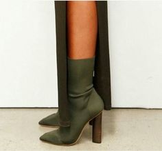 Pure Color Pointed Toe High Chunky Heels Half Boots – Bags in Cart Heeled Boots, Bootie Boots, Ankle Boots, Cute Shoes, Me Too Shoes, Yeezy Season, Season 3, Designer High Heels, Low Boots
