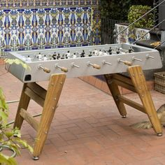 RS3 Wooden Leg Table Football Table Games, Game Tables, Indoor Outdoor, Outdoor Living, Table Football, Gold Wood, Types Of Wood, Game Room, Rec Rooms