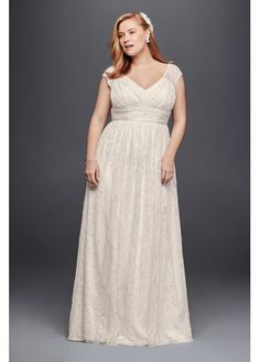 Plus Size Sheath Wedding Dress with Cap Sleeves 9KP3821 $500
