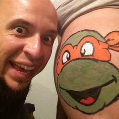 teenage mutant ninja turtles - Pregnant Halloween Painted Bellies