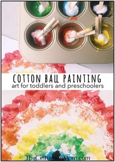Cotton ball painting fun craft for toddlers and preschoolers handprint and footprint easter crafts huge list Toddler Arts And Crafts, Preschool Arts And Crafts, Fun Crafts For Kids, Baby Crafts, Summer Crafts, Fish Crafts, Daycare Crafts, Family Crafts, Resin Crafts