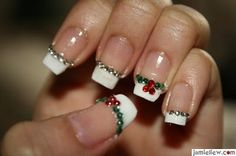 christmas green and red holly, silver trim french tip nails, would be so cute for a pedicure. Don't need the rhinestones, just color polish dots or glitter :)