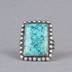 Silver Ring with #8 Turquoise, c.1950