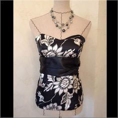 2 FOR $14 ITEM - Charlotte Russe Strapless Top In great condition! Charlotte Russe Halter Top in black and white. Back zipper, tie back and lightly padded cups. Tops Crop Tops