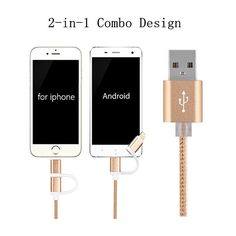 powerline 2 in 1 Aluminum Micro USB Cable 1M Charging Mobile Phone Cables For iPhone 5 5S 6 Charger ios Data For Samsung Android