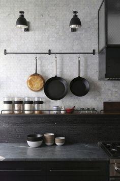 A Rugged, Rustic NYC Loft by Matt Bear of Union Studio Union-Studio-New-York-Loft-kitchen-details-Re Loft Kitchen, Kitchen Backsplash, Kitchen Interior, New Kitchen, Kitchen Dining, Kitchen Decor, Rustic Kitchen, Kitchen Grey, Dining Room