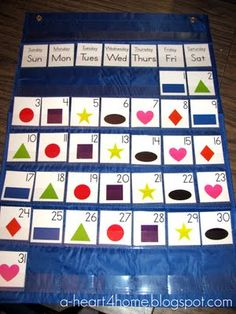 Sew your own pocket chart calendar using the $1 pocket chart from TARGET!!!  Plus free calendar printables, awesome idea!!!