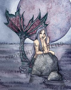 Amy Brown Print Mermaid Still Waters Purple Black Moon Ocean 8 5x11 Art Retired | eBay