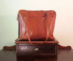 Frye Cognac Leather Tote Messenger Briefcase Laptop Satchel Bag- Very Good Condtion by ProVintageGear on Etsy
