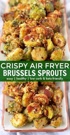 Crispy Air Fryer Brussels Sprouts (Low Carb, Keto) - * Keto Low Carb Veggie Recipes * - You've never had Brussels sprouts like these! Our Parmesan Air Fryer Brussels sprouts are crispy - Air Fryer Recipes Vegetarian, Air Fryer Oven Recipes, Air Frier Recipes, Air Fryer Dinner Recipes, Keto Recipes, Ninja Recipes, Vegetarian Keto, Air Fryer Recipes Vegetables, Air Fryer Chicken Recipes