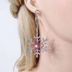 Amazon.com: EVER FAITH Silver-Tone Christmas Gifts Snowflake Pink Austrian Crystal Elegant Hoop Dangle Earrings: Jewelry