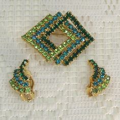 Vintage Rhinestone Triple 3 Squares Lime by PrettyCuriousBlings, $29.00