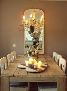 I love this table! Kitchen Dining, Dining Room, Dining Table, Romantic Dinners, Wood Projects, Family Room, Household, Table Settings, Sweet Home