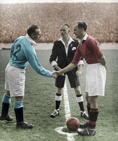 This is a great colorized photo from Derby Day Manchester City v Manchester United 1947.  Played since 1881, 168 matches have been held, with Manchester United winning 69 of them, Manchester City 49 of them, and 50 of them ending in a draw.