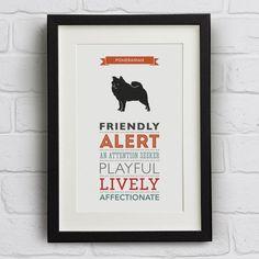 Pomeranian Dog Breed Traits Print