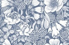Oodi Blue White (17923) - Marimekko Wallpapers - A bold and beautiful floral design with large scale flowers.  Shown here in the off white on blue colourway. Paste the wall. Please request sample for true colour match.