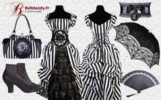 Collection gothique victorien rayé www.belldandy.fr #gothique #gothic #gothicgirl #victorian #victoriangirl #victorien #goth #gothicstyle #rayenoirblanc #alternativeclothing #newalternative #ombrelle