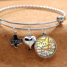 Map Charm Bracelet Amarillo Texas City State TX Charm Bangle Bracelet Vintage Map Jewelry Stainless Steel Charm Bracelet