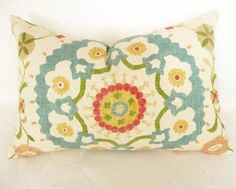 Small Colorful Suzani Throw Pillow Decorative by PillowThrowDecor, $32.00