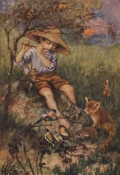 Peter The Piper - Vintage Children's Print by Alice M Cook from 1918 - Boy playing his Pipe - Fox - Rabbit - Birds - Matted - Ready to Frame Alice, Flute Drawing, Clumber Spaniel, Fox And Rabbit, Boys Playing, Children's Book Illustration, Book Illustrations, Vintage Children, Vintage Prints