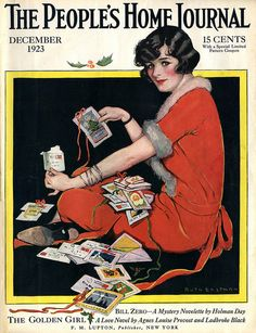 Decemeber 1923. Christmas magazines Cover by Ruth Eastman