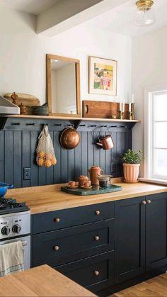 Kitchen Redo, Rustic Kitchen, New Kitchen, Updated Kitchen, Kitchen Remodel, Colorful Kitchen Cabinets, Dark Green Kitchen, Black Kitchen Cabinets, Eclectic Kitchen