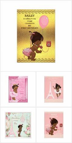 Cute ethnic baby Girl 1st Birthday party invitations.