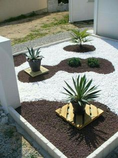 White and other color rock to make an interesting Garden decor