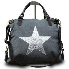 My-Musthave XXL Shopper Canvas-Tasche Blogger mit Stern Schultertasche Canvas Vintage Used Look, Farbe:Grau Stern Silber
