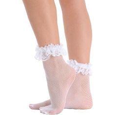Womens Fishnet Ankle Socks Ruffle Lace Trim Crew Anklet Black White or Red - Walmart.com Diy Lace Socks, Frilly Socks, Cute Socks, Fishnet Ankle Socks, Ankle High Socks, Fishnet Stockings, Fashion Socks, Sock Shoes, Lace Trim