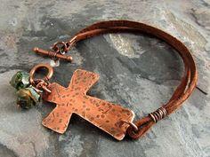 Cross Bracelet, Christian Jewelry, Hammered Copper Sideways Cross, Leather Bracelet, Boho, Christian Bracelet, Inspirational, Rustic Cross
