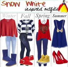 Winter, Fall, Spring, and Summer outfits inspired by Snow White.