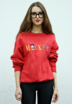 #Vintage #90s #MickeyMouse Slogan #Sweatshirt Jumper UK 10 #asosmarketplace