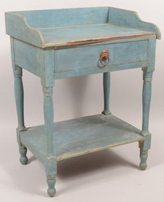 Sold $350 Pennsylvania Country Federal Blue Painted Softwood Washstand.  Circa. 1830 1850.